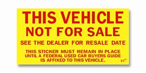 Vehicle Not For Sale Sticker